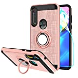 StarLodes Compatible for Motorola Moto G Power 2020 Phone Case,[HD Screen Protector] TPU & PC Heavy Duty Shockproof Protective Cover with Rotatable Ring Kickstand fit Magnetic Car Mount-Rose Gold