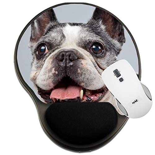MSD Mousepad Wrist Rest Protected Mouse Pads, Mat with Wrist Support, Old French Bulldog Black and White Isolated Against