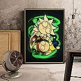 YuanMinglu Cartel Vintage Cartel de Dibujos Animados Personaje de Anime Cartel Retro HD Artista decoración del hogar Arte habitación para niños Lienzo Pintura sin Marco 60X90CM