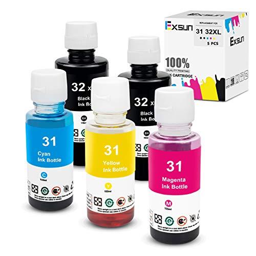 Exsun 5X Botella de Tinta de Recarga Compatible para HP 31/32XL Botella de Tinta de Tinte Negro 165ml, Cian Magenta Amarillo 100ml para HP Smart Tank Plus 555 570 550 Impresora Wireless All-in-One