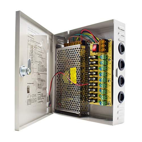 Weishuo 9 Canaux CCTV Boîtier d'alimentation 12V DC 10A 120W Alimentation Distribuée pour Caméra de Surveillance Système de Sécurité