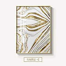 oioiu Hoja de Oro Abstracta líneas geométricas Lienzo Pintura póster e impresión Imagen de Arte de Pared en Sala decoración Moderna Dormitorio niña Regalo café