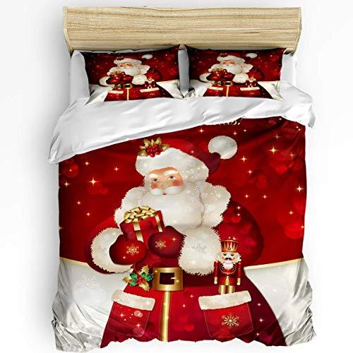 HARXISE Juego de Ropa de Cama Transpirable de 3 Piezas Juegos de Funda nórdica, Navidad Rojo Papá Noel con Regalos 1 Funda de edredón, 2 Fundas de Almohada