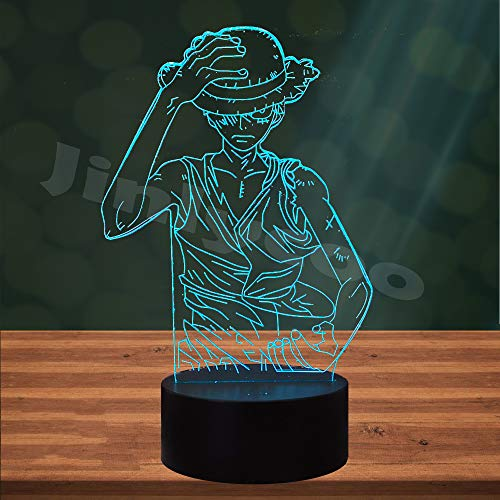 One Piece Cartoon Lamp for Boy Bedroom Monkey D Luffy Japan Anime Roronoa Zoro LED 3D 7 Color USB Change Home Table Decor Night Light Sleeping Lighting Holiday Kids Gift(One Piece Luffy)