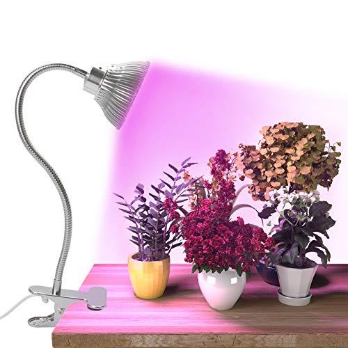 Exmate LED Plant Lights for Indoor Plants, Desk Grow Light 15W Plant UV Light Plant Growing Lamps Full Spectrum with Adjustable 360 Degree Gooseneck for Seedling Succulent Fruit Veg Flower Herbs