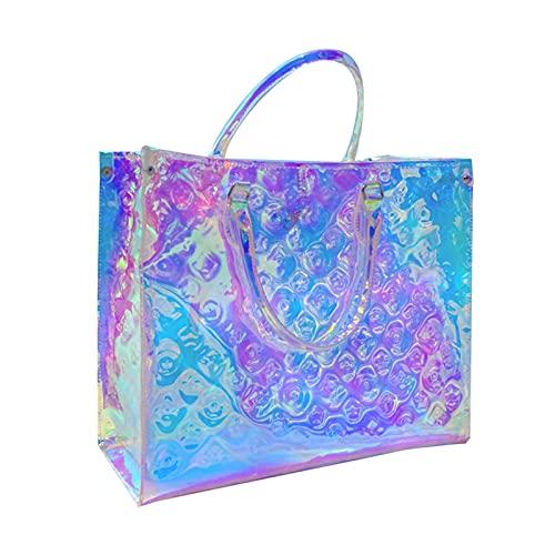 WWZZ Bolso De Mensajero De Las Señoras De Verano, Bolsa De Compras Colorida Impermeable Transparente, Bolsa De Hombro Portátil Mágica del Arco Iris, Bolso Láser Transparente De Playa