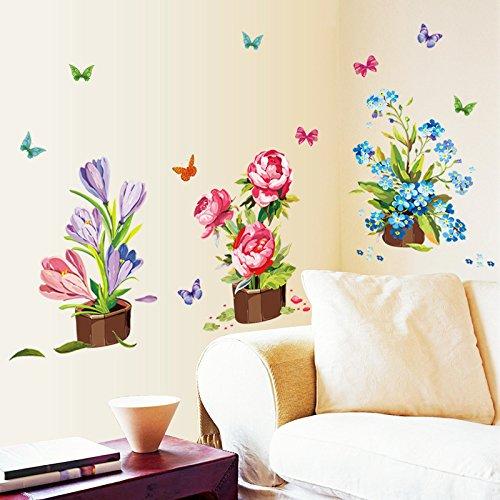 Mznm Bloempotten versieren slaapkamer woonkamer verwijderen kunnen Pvc-muursticker