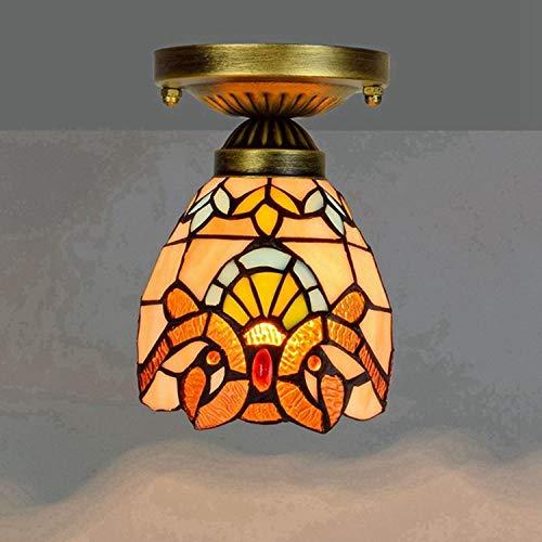 Plafondlamp Flur_Tiffany balkon van gekleurd glas kleine plafondlamp baroklamp geel