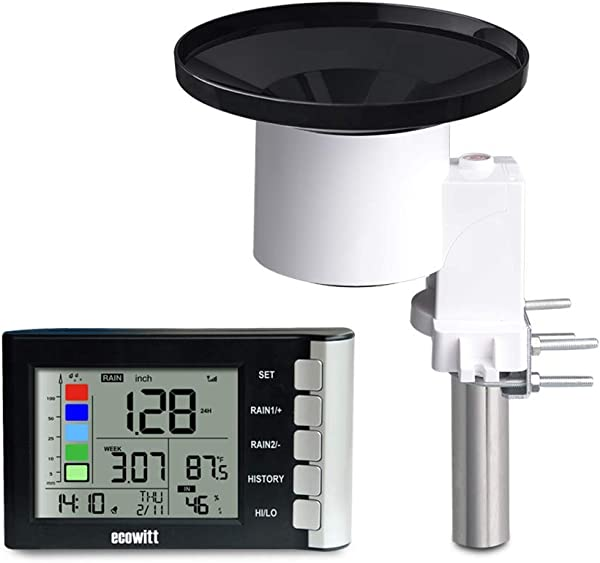ECOWITT WH5360B High Precision Digital Rain Gauge Wireless Self Emptying Collector With Rainfall Alert Rainfall History Indoor Temperature Humidity