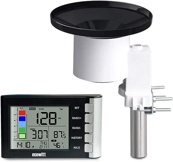 ECOWITT WH5360B 高精度数字雨量计无线自放空集热器带降雨警报降雨历史室内温度湿度