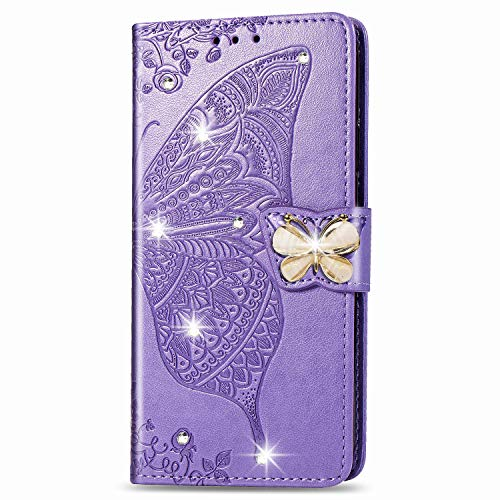 Blllue Capa carteira compatível com Motorola Z4, Bling Glitter Diamond Butterfly PU Leather Phone Cover para Moto Z4 Play/Moto Z4 - Violeta