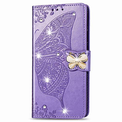 Blllue Funda tipo cartera compatible con Galaxy A10e, Samsung A10e Case Point Bling Diamond Butterfly de piel sintética para Samsung Galaxy A10e, color violeta