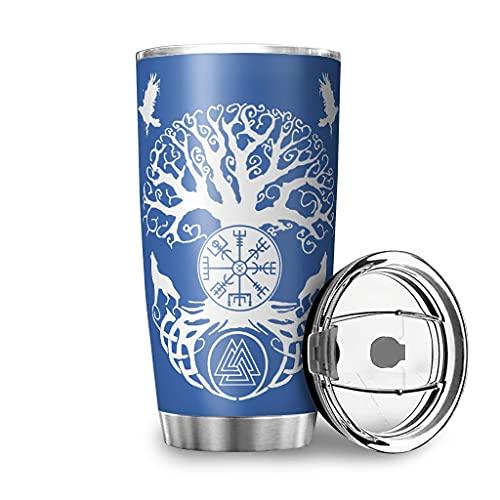 Dessionop Botella de agua Tumbler vikingo árbol de la vida Vegvisir Wolf cuervo impresión coche botella de agua deportiva 20oz antigoteo tapa abatible acero azul 600ml (20oz)