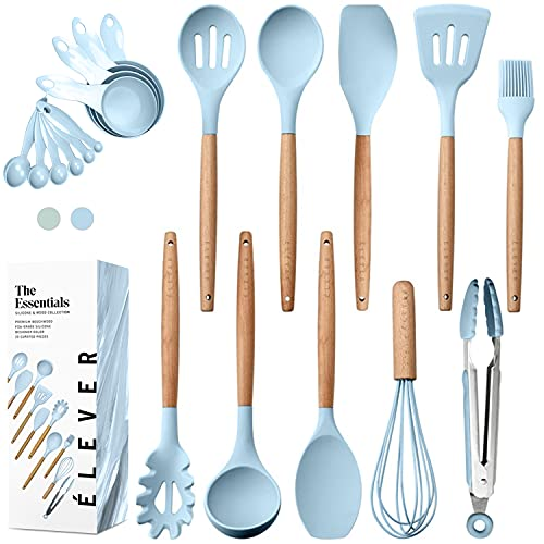 Kitchen Utensils Set - 20 Silicone Cooking Utensils for Non-stick Cookware. Wood Kitchen Utensils. BPA Free, Silicone Spatula Wooden Spoons Set Tongs. Best Chef Kitchen Gadgets Tool Set Gifts
