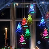 Solar Christmas Wind Chimes Light Outdoor, Snowman Hanging Outdoor Christmas Decorations Solar Powered Lights, Christmas Tree Decorations Outdoor for Home Garden Yard Christmas (Christmas Tree)