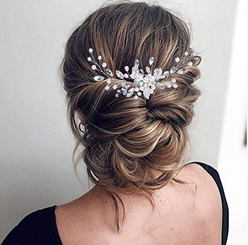 Unicra Bride Wedding Hair Comb Silver Pearl Hair Accessories Crystal Bridal Headpiece Rhinestones Combs for Women and Girls