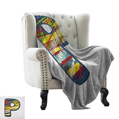 LsWOW Manta de Viaje con Letra P, Paleta de Colores Abstractos en mayúscula, diseño de Flores, Hojas, pétalos, patrón de Naturaleza, Manta cálida otoño e Invierno