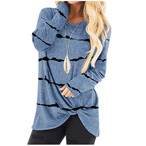 Chejarity Camiseta básica de manga larga para mujer, de un solo color, para otoño e invierno, elegante, para correr azul-2 XL