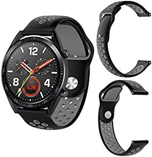 Black grey Rubber Watchband Silicone Replacement Strap Band for Huawei Magic/Watch GT/Ticwatch Pro Wrist Bracelet