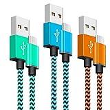 Cble USB C (1M/Lot de 3), Cable Chargeur USB Type C en Nylon Tressé en Charge Rapide Compatible pour Samsung Galaxy S8 S9 S10 A20...