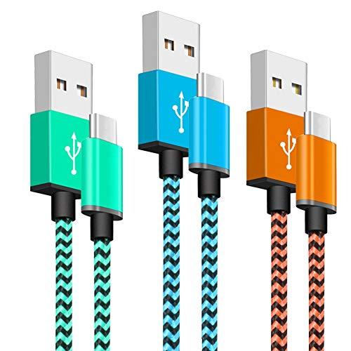 Yosou Cable USB Tipo C [3 Pack 1m] - Cable Cargador de Nylon, Carga Rápida, para Samsung Galaxy S10/S9/S8/A20/A40/A50/A70, Huawei P9/P10/P20/P30, Nintendo Switch, Sony Xperia