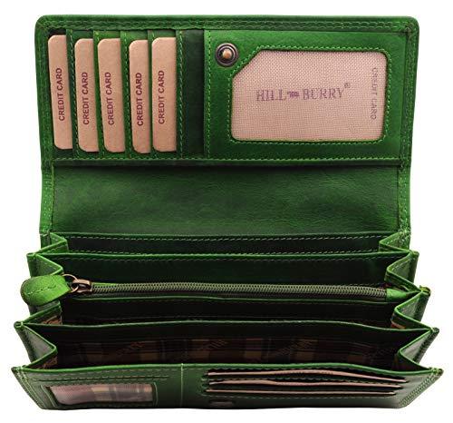 Hill Burry Leder Geldbörse | Echt-Leder Vintage Portmonee - weiches schlankes Portemonnaie | Brieftasche - Kreditkartenetui (Grün)