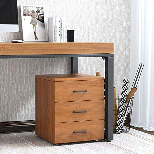 Great Price! FENGTING Bedside Table WoodBedside Table with Black Metal Handles Chest of 3 Drawers Ca...