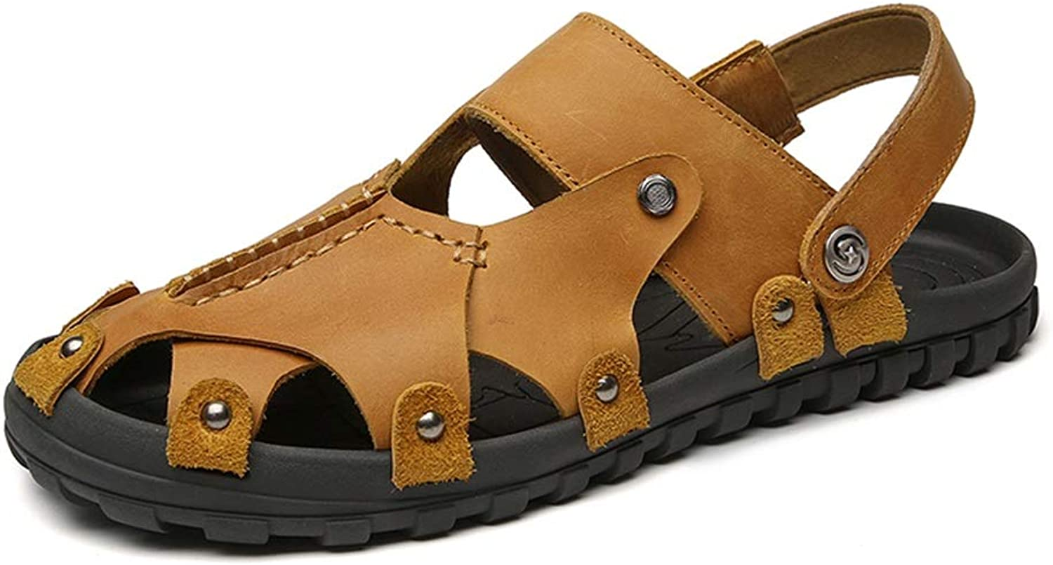Hetai Men's Closed Toes Slippers Genuine Leather Rivets Closure Tightly shoes Summer Beach Sandals