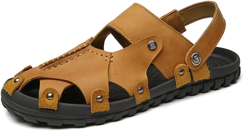 Hetai Herren geschlossene Zehen Hausschuhe aus echtem Leder Nieten Verschluss dicht Schuhe Sommer Strand Sandalen By