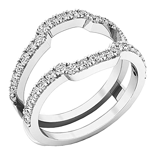 Dazzlingrock Collection Round White Cubic Zirconia CZ Ladies Wedding Band Enhancer Guard Double Ring, Sterling Silver, Size 7