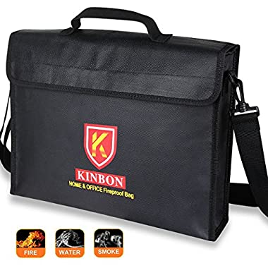 Fireproof Bag, KINBON Fireproof Waterproof Document Money File Bag Pouch (15''x11''x3'') with Non-Itchy Silicone Coated Fiberglas, Fireproof Safe Storage for Document Cash Passport Bank Card Valuables