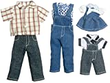 Dollhouse Modern Family Denim Outfits Miniature 1:12 Scale Dolls Clothing Set