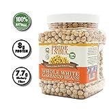 Pride Of India - Whole White Garbanzo Beans - 1.5 lbs (680 gm) Jar - Meilleur utilisé dans le houmous, les...