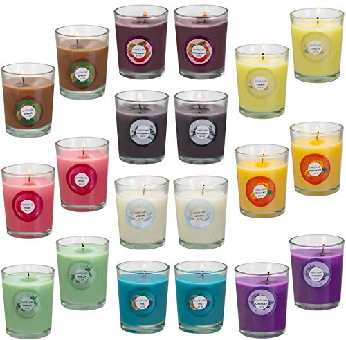 Scented Candles, Anxiety Reducer Jasmine, Rose, Vanilla, Bergamot, fig, Lavender, Lemon, Spring,Strawberry, Rosemary, Aromatherapy Organic Massage Candles, Hand Poured Natural Soy Wax - 20 Pack