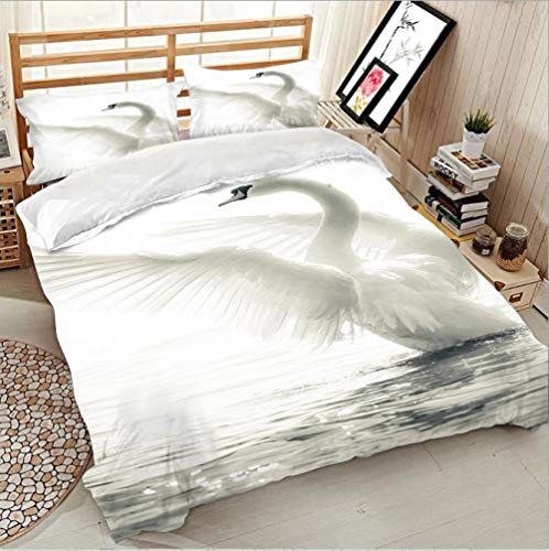 WYRRIG Duvet Cover Set King Black And White Swan Bedding Set 3Pcs Reversable Quilt Cover Easy Care Anti-Allergic Soft Comfortable,220X230Cm