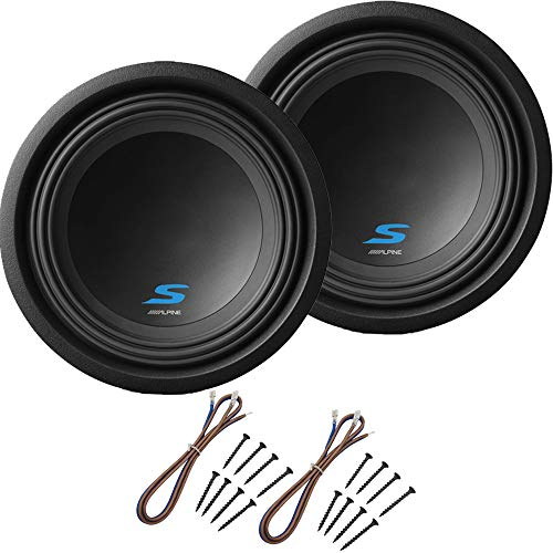 "Alpine S-W10D4 Car Audio Type S Dual 4 Ohm 1200 Watt 10"" Subwoofers with Sub Install Kit Package"