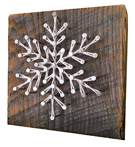 Sweet and small'Frosty' snowflake holiday string art. A unique gift for Christmas, Hanukkah, teachers, secret santa and co-workers. Winter cabin decore. Made in Maine. Stocking stuffers