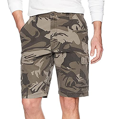 Pantalones cortos para hombre de ajuste relajado, pantalones cortos cargo casuales de combate de verano con múltiples bolsillos, duraderos para ropa de trabajo, azul marino, 42