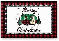 玄関マット屋内入口吸水性滑り止め入口カーペット寝室キッチンレッドチェックテクスチャキャンプと犬の靴スクレーパー付きクリスマスツリー-40 * 60Cm