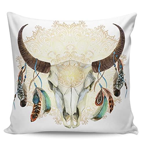 Winter Rangers Fundas de almohada decorativas, diseño de calavera de toro y plumas coloridas para colgar, funda de cojín cuadrada cómoda para sofá dormitorio, 45,72 x 45,72 cm