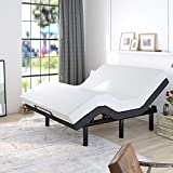 Allewie Adjustable Bed Base Frame / Queen Size Bed Upholstered Frame Head and Foot Incline / Wireless Remote Control / Wood Board Support with Upholstered Attached/ (Queen Adjustable Bed Only)