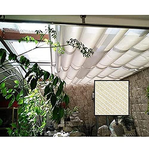 XJJUN Parasol, Tela Transpirable Resistente Al Desgarro, Resistente A La Intemperie, Retráctil, En Forma De Onda, para Pérgola De Jardín (Color : Beige, Size : 1.2x3m)