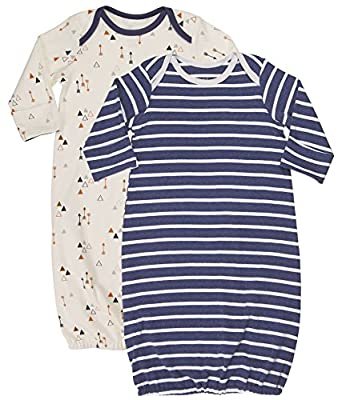 Asher and Olivia Baby Boys' Nightgowns 2-Piece Sleeper Gown Long-Sleeve Wearable Blanket. Size 0-6 Month