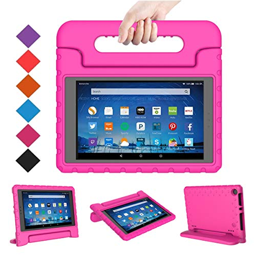 BMOUO Case for Amazon Fire HD 8 2017/2018 (Previous Generation) - Light Weight Shock Proof Convertible Handle Kids Case for Fire HD 8 Tablet (7th and 8th Generation, 2017 and 2018 Release) Rose