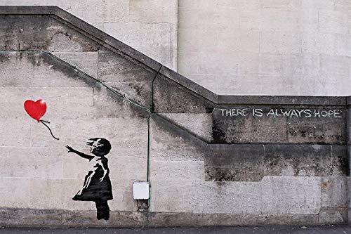 Banksy - La niña del globo. Es un mini Poster de Papel de uno de los trabajos mas populares de este icono internacional del arte urbano (graffiti), en el que dice que siempre hay esperanza