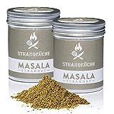 Strandküche Strandby Masala 2x45 g I Mezcla Hindú Bio cilantro mezclado con alcaravea pimienta canela clavo de olor cardamomo laurel citrico I Especia asiático perfecta para cocinar en el Wok