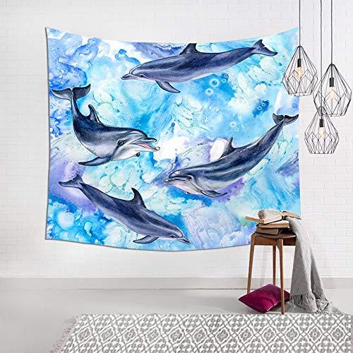 WERT Vida Marina Azul Tapiz Colgante de Pared Alfombra Dormitorio Artista de tapicería decoración del hogar Manta Tiro Yoga Estera de Playa A4 95x73cm