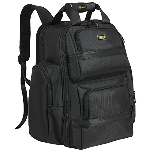 """FASITE Tool Bag Backpack - Heavy Duty Professional Storage & Organizer for Contractor, Electrician, Plumber, HVAC, Large Front Flap Fit 13"""" -17"""" Laptops Notebook, Black"""
