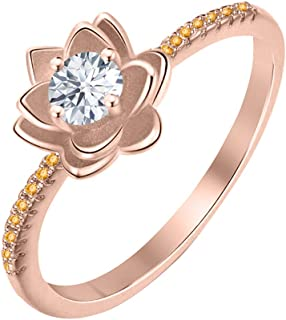Lotus Flower Round White Diamond & Citrine 14K Gold Plated Women's Engagement Band Ring Sterling Silver
