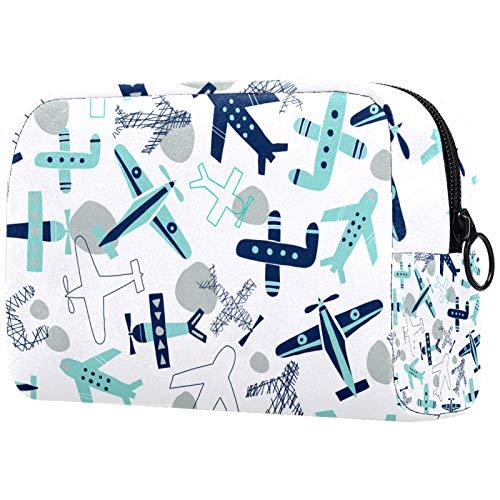 Trousse de maquillage de voyage - Sac de rangement portable - Motif avions - Bleu et gris
